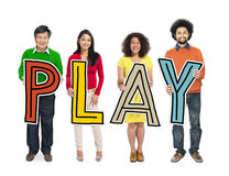 Multiethnic Group of People Holding Letter Play Royalty Free Stock Photography