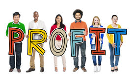 Multiethnic Group of People Holding Letter Profit Royalty Free Stock Photos