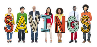 Multiethnic Group of People Holding Letter Savings.  royalty free stock images