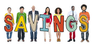 Multiethnic Group of People Holding Letter Savings Royalty Free Stock Images