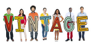 Multiethnic Group of People Holding Letter Vintage Royalty Free Stock Photo