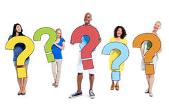 Multiethnic Group of People Holding Question Marks Royalty Free Stock Photography