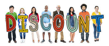 Multiethnic Group of People Holding Text Discount.  royalty free stock images
