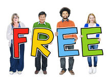 Multiethnic Group of People Holding Word Free Royalty Free Stock Images