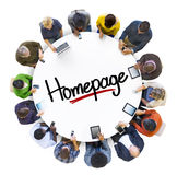 Multiethnic Group of People with Homepage Royalty Free Stock Image