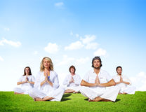Multiethnic Group of People Meditating Outdoors Royalty Free Stock Photos