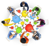 Multiethnic Group of People Meeting with Light Bulb Royalty Free Stock Photo