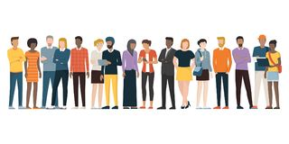 Multiethnic group of people. Standing together on white background, diversity and multiculturalism concept stock illustration