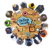 Multiethnic Group of People with Online Security Concept Stock Images
