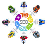 Multiethnic Group of People and SEO Concepts Stock Photos