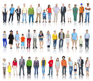 Multiethnic Group of People Smiling in a Row Royalty Free Stock Images