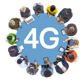 Multiethnic Group of People Socail Networking with 4G Stock Photos
