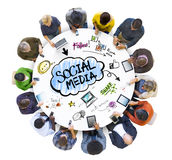 Multiethnic Group of People with Social Media Royalty Free Stock Photography