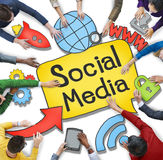 Multiethnic Group of People with Social Media Concept Stock Image