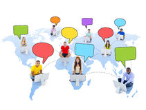 Multiethnic Group of People and Social Networking Concepts Stock Images