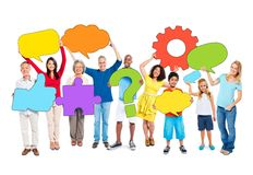 Multiethnic Group of People with Speech Bubbles Stock Photos