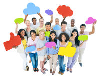 Multiethnic Group of People with Speech Bubbles Stock Images