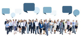 Multiethnic Group of People with Speech Bubbles Royalty Free Stock Image
