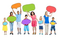 Multiethnic Group of People Speech Bubbles Concept Royalty Free Stock Photos