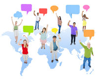 Multiethnic Group of People with World Communication Stock Photo