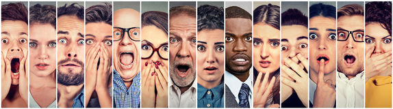 Multiethnic group of scared people. Multiethnic group of scared shocked people royalty free stock images