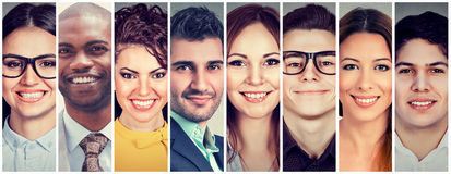 Multiethnic group of smiling people stock photography
