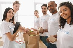 Multiethnic group of volunteers Royalty Free Stock Photography
