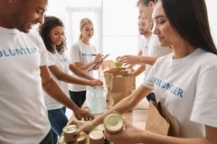Multiethnic group of volunteers. Putting food and drinks in paper bags for charity royalty free stock images