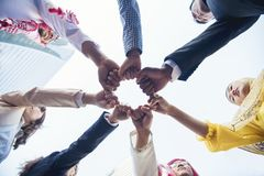 Multiethnic group of young collaboration team royalty free stock images