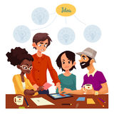 Multiethnic group of young creative people brainstorming ideas in office. Young creative business people brainstorming ideas in office, sketch style vector royalty free illustration