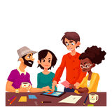 Multiethnic group of young creative people brainstorming ideas in office. Young creative business people brainstorming ideas in office, sketch style vector stock illustration
