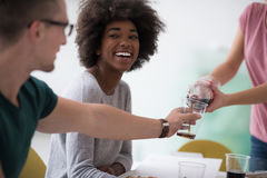 Multiethnic group of young people have a lunch break Stock Photos