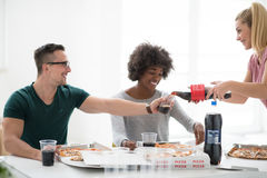 Multiethnic group of young people have a lunch break Royalty Free Stock Photo
