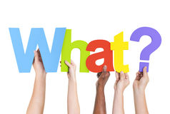 Multiethnic Hands Holding Text What with Question Mark Stock Photo