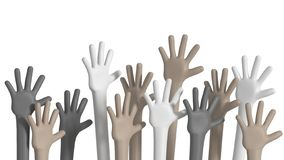 Multiethnic hands raised up stock photography