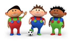 Multiethnic kids soccer team. Cute little multiethnic cartoon boys with football - high quality 3d illustration Royalty Free Stock Image