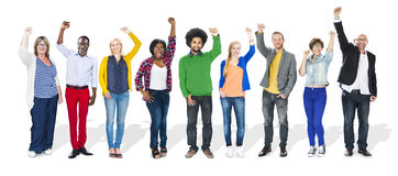 Multiethnic People Arms Raised and Celebration Royalty Free Stock Images