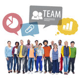 Multiethnic People as a Team on Isolated White Stock Photos