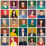 Multiethnic People Colorful Smiling Portrait Concept Stock Photography