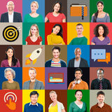 Multiethnic People Colorful Smiling Portrait Technology Concept Royalty Free Stock Image