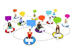 Multiethnic People Connected Through the Internet with Speech Bu. Bbles Stock Photos