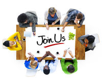 Multiethnic People Discussing About Join Us Stock Image