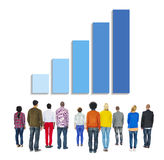 Multiethnic People Facing Back with Growing Bar Graph Above Stock Image