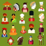 Multiethnic people flat avatars and icons Stock Photo