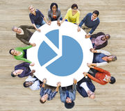 Multiethnic People Forming Circle and Chart Royalty Free Stock Images