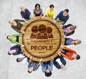 Multiethnic People Forming a Circle Holding Hands Stock Photo