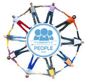 Multiethnic People Forming a Circle Holding Hands Royalty Free Stock Images