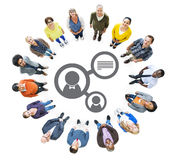 Multiethnic People Forming Circle and Profile Symbol Stock Images
