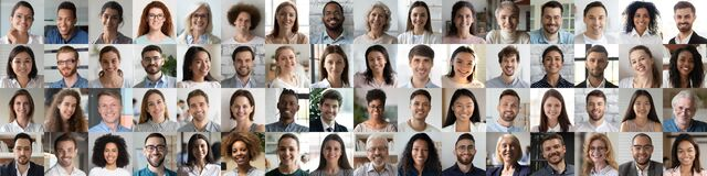 Free Multiethnic People Group Looking At Camera Collage Mosaic Horizontal Banner Stock Images - 183203244