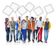 Multiethnic People Holding Blank Sign Post Royalty Free Stock Photography